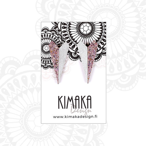 Kimaka Design Paper Plane Silver and Purple Earrings